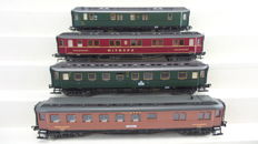 Fleischmann H0 - 5078/5079/5081/5082 -  Four passenger carriages of the DRG and Mitropa