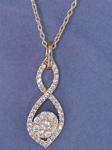 14 kt gold pendant set with 56 cut diamonds, 0.50 ct in total – 42 cm