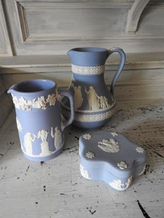 Two Wedgwood cans and a lidded box
