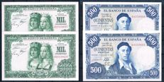 Spain - 2x 1,000 pesetas 1957 and 2x 500 pesetas 1954 - Lot of two correlative pairs