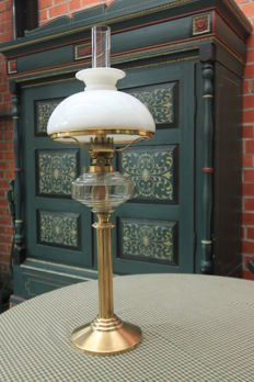 Antique oil table lamp, brass