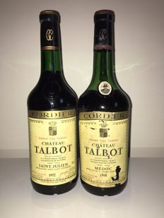 1968 & 1972 Chateau Talbot, Saint-Julien 4ème Grand Cru Classe – 2 bottles