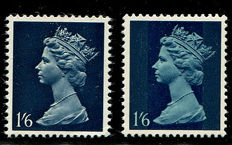 Great Britain Queen Elizabeth 1967/1970 shilling, 1 pence error, greenish blue omitted, Stanley Gibbons 743a