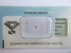 0.08 ct Brilliant cut diamond, E / VVS1 ***No minimum price***