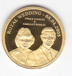 Cook Islands – 10 dollars 2005 Royal Wedding Prince Charles & Camilla P. Bowles – gold