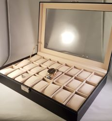 Luxurious leather watch box with lock