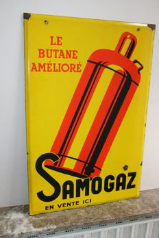 Rare enamel advertising sign for Le Butane Amélioré
