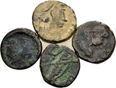 Roman Empire – Lot of Four Small AE Coins, late Roman, 5th century – Honorius, Leo and Verina, Marcian