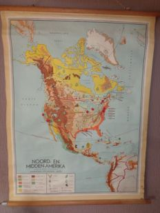 "Old map / school poster of ""North and Central America"" by Bakker and Rusch with grain, tobacco, animal husbandry, forestry, oil fields, Eskimos, etc."