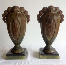 Pair of fireplace ornaments - Art Deco