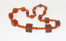 Pressed vintage  Baltic Amber Beads necklace,from the 1970s, 70gr.
