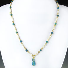 Necklace with Roman glass and shell beads - 51 cm