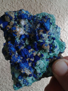 Azurite, malachite & olivenite crystals on matrix - 9cm x7cm x3cm - 160 gr