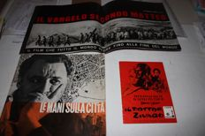 """Lot of 4 Italian rare movie brochures: """"The hands on the city"""" by F. Rosi (1963), """"The Gospel According to St. Matthew """" by P.P. Pasolini (1964), """"Dr Zivago"""" by D. Lean (1965) and """"L'eclisse"""" by M. Antonioni (1962)"""