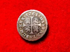 Spain – Carlos II (1759–1788). 1/2 real silver coin – 1761 – Madrid. J P.