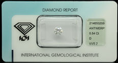 Top Quality Natural Round Diamond 0.54ct., River - D - VVS2,  IGI certified