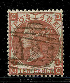Great Britain 1867/1880 – Queen Victoria – 10 pence red-brown Stanley Gibbons 112 Used Abroad