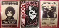 Jimi Hendrix, Alice Cooper and Metallica Concert Poster Tin Plaques