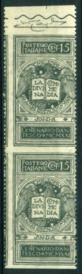 Kingdom of Italy - 1921 - Dante - not issued -  15 cents, grey, vertical pair with no horizontal perforations - Sassone catalogue no. 116An
