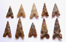 Lot with 10 Neolithic arrowheads - 15 - 30 mm (10)