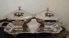 a pair of unusual art deco style octogon shaped vintage silver plated lidded serving dishes.