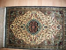 Hand-knotted silk Ghom carpet from Iran – 85 x 55 cm – Around 1950