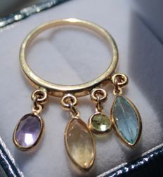 14 kt yellow gold ring with amethyst, citrine, topaz and peridot - ring size 17 - No reserve