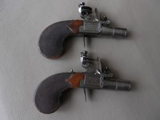Pair of French Flintlock Pocket Pistols made by Boutet a Versailles