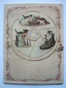 Paper toys; Fantascope with spinning disc showing cat pictures - c. 1890