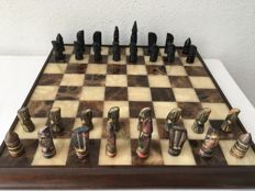 Coloured stones chess set