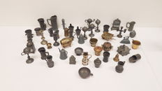 Lot of ca 60 copper and pewter miniatures