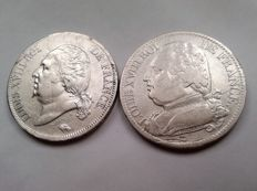 France  - 5 Francs 1815-Q & 1819-B (lot of 2 coins) - Louis XVIII - Silver