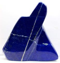 Hand-finished Royal Blue Lapis Lazuli with Golden Pyrite & Calcite - 139 x 134 x 24mm - 767gm
