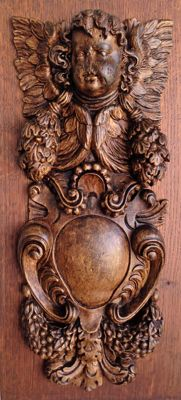 Very beautiful lime wooden carving on oak panel - France - 18th century