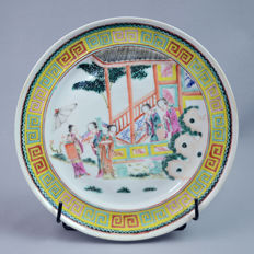 Canton porcelain plate  scene court on a terracce - China - end 19th century