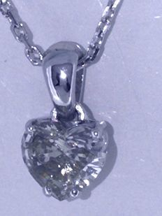 White gold 0.85 ct heart-shaped diamond *** No reserve ***