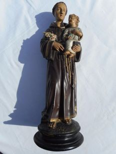 Large polychrome Holy sculpture - St Anthony of Padua -  late 19th century