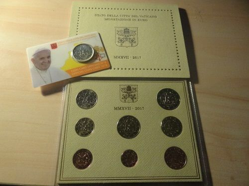 "Vatican – Year pack 2017 (new pattern) + 50 cent coin 2017, ""new pattern"" in coin card"