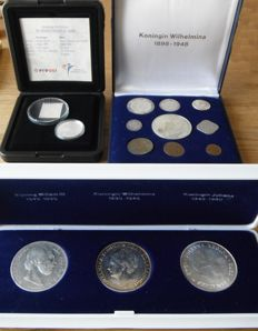 """The Netherlands – Coin sets """"Kingdom of the Netherlands"""" 1870/2001, Willem III through Beatrix (3 different ones)"""