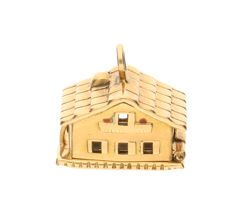 Yellow gold pendant in the shape of a house, 18 kt – Length: 1.4 cm