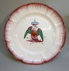 Late c 19 French faience octafoil plate painted with red and green eagle with crown