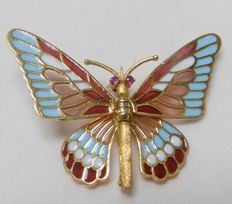 Handcrafted 18 kt gold brooch with rubies and fire enamel. Art Deco style