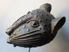 Large Leopard head in bronze  - BENIN - Nigeria, region Benin city