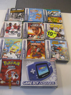 Boxed Nintendo Gameboy Advance like new - with 10 boxed games almost al complete. - ao Pokemon Ruby