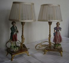 Two porcelain table lamps, man and woman, with Organza shades