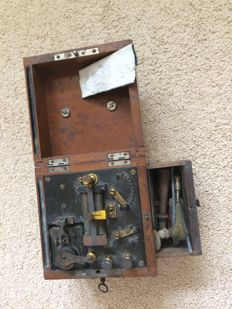 Medical electricity box with key. Early 20th century.