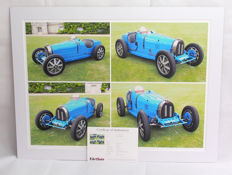 1924 Bugatti Type 35 B Limited Edition Original Giclee Mounted Print  Four Views - Dimensions 28.2 x 20 Inch