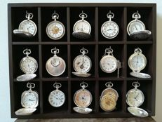 Collection of 15 silver plated mechanical pocket watches in luxury wooden display cabinet