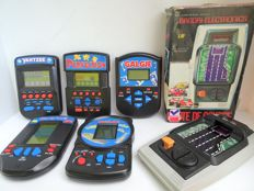 Bandai Electronics-Champion Racer LED game from 1980 + 5 Hasbro MB LCD games from the '90