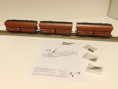 Roco H0  - from set 51268 - 3x Coal trucks with load of the DB